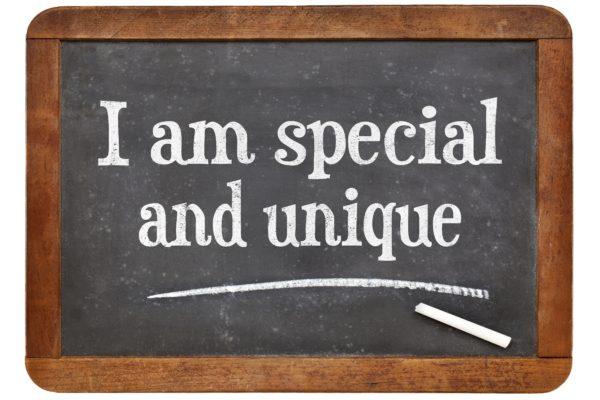 I am special and unique - positive affirmation words on a vintage slate blackboard