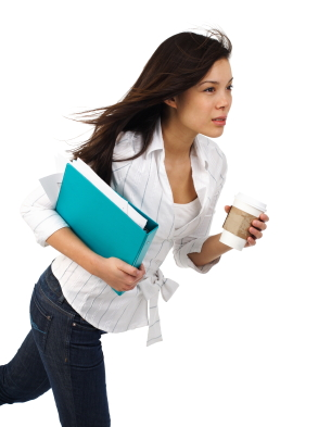 SJ lifestyle woman scurrying with coffee